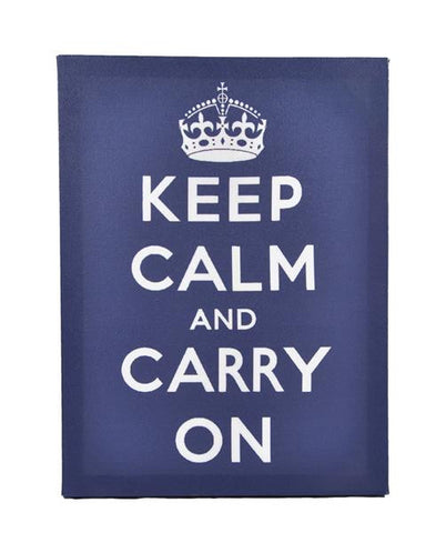 Keep Calm & Carry On Printed On Canvas Frame (Blue)