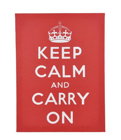 Keep Calm & Carry On Printed On Canvas Frame (Red)