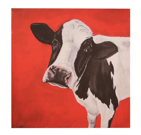 Retro Red Curious Moo Cow Art Print On Canvas Frame