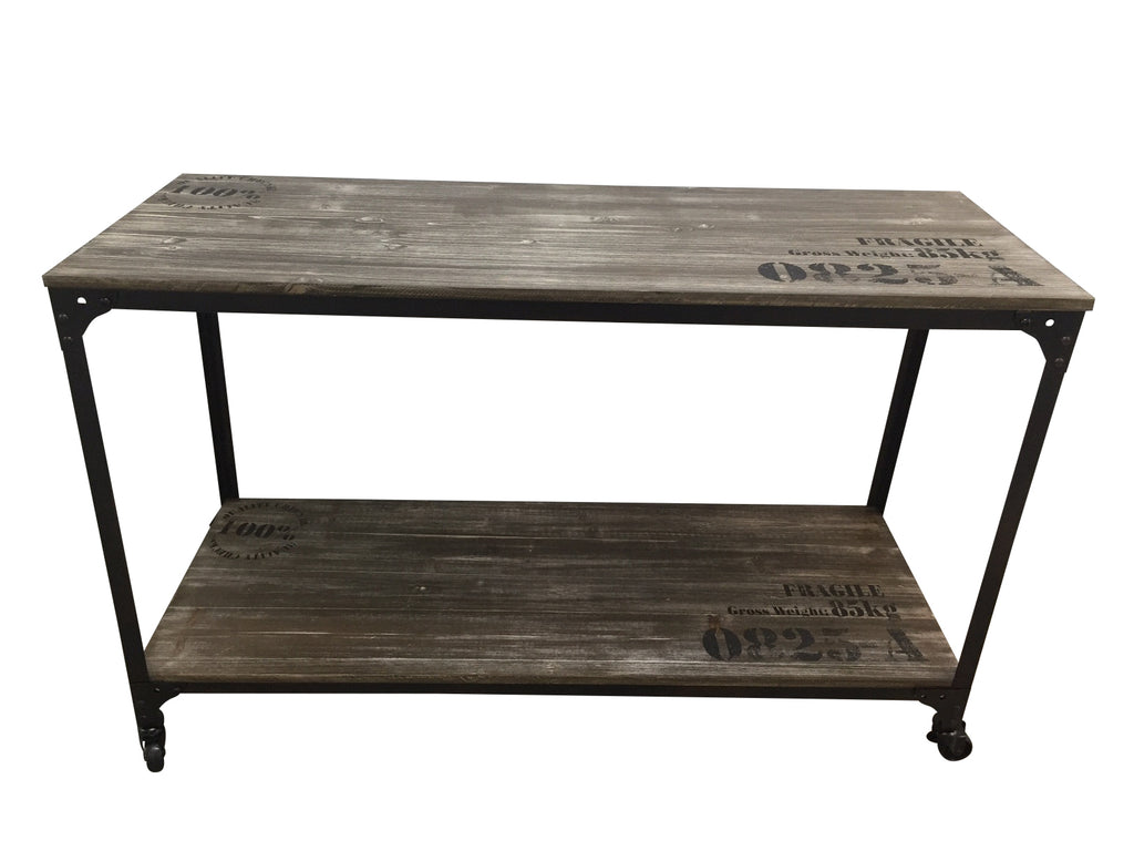 ... IRON RUSTIC WOOD HALL TABLE WITH CASTOR WHEELS   INDUSTRIAL CHIC ...