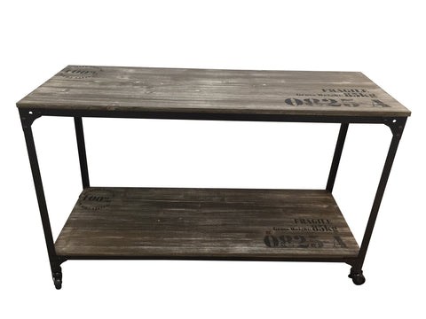 IRON RUSTIC WOOD HALL TABLE WITH CASTOR WHEELS - INDUSTRIAL CHIC
