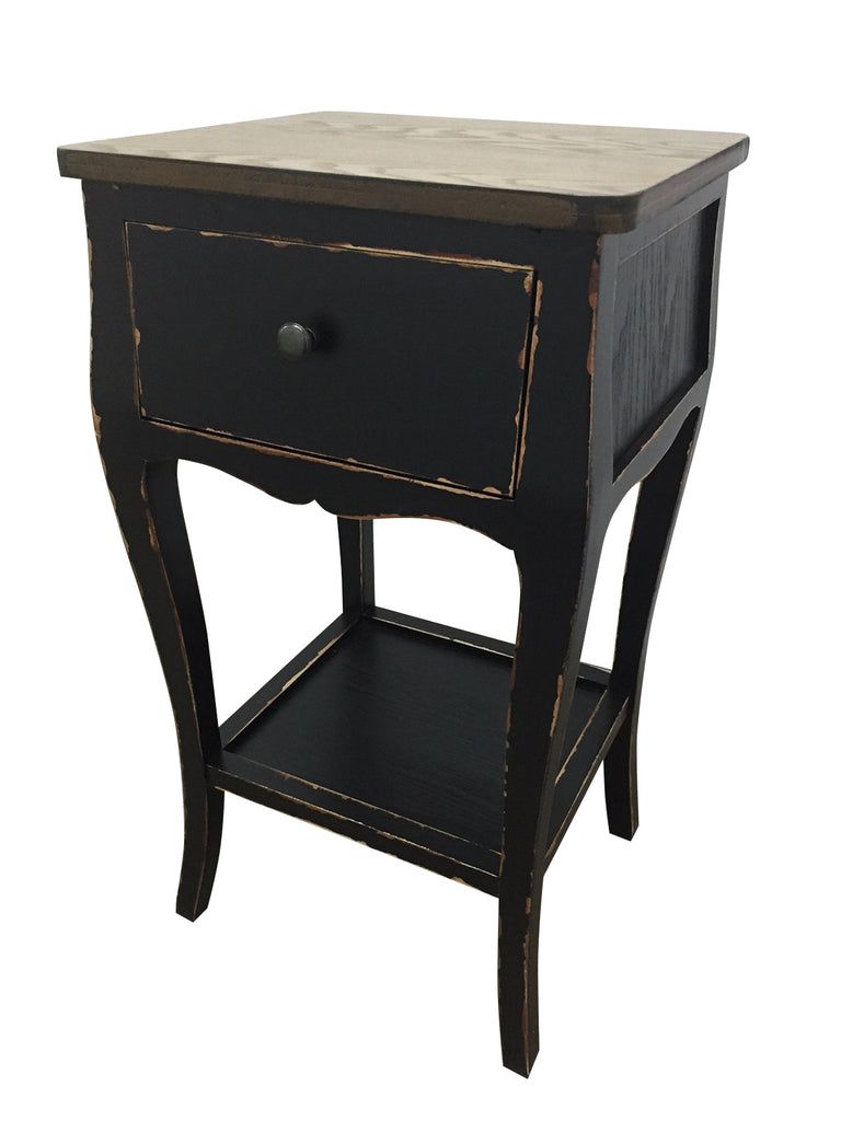 Lovely ... Villa Alcove Table Queen Anne Shabby Chic Distressed Black Wood