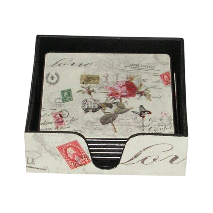 Decoration Carte Postale.Love Carte Postale French Coasters With Storage Holder