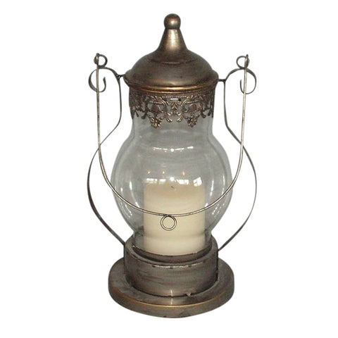 Glass & Gunmetal Lantern Candleholder With Ornate Fleur Des Lys Pattern