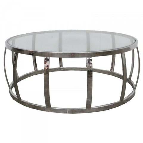 Drum Shaped Modern Metal & Glass Coffee Table