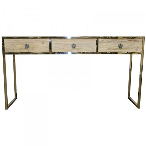 Hawthorne Wood & Stainless Steel Console Table Industrial Chic