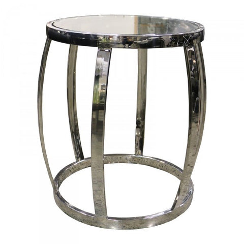Drum Shaped Modern Metal & Glass Side Table