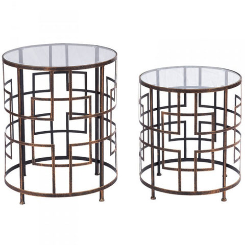 Gloria Abstract Geometric Metal & Glass Side Table Set - Home of Temptations Interior Design Furniture Decor & Gifts http://www.hotdesign.co.nz