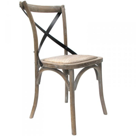 Le Croix Dining Chair Stylish Natural Tan Wood & Rattan