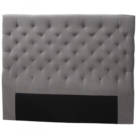 Florence Bedhead Headboard French Grey Velvet (Queen)