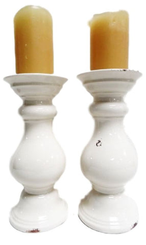 Rustic White Candleholder Candlesticks Ceramic Crackle Glaze