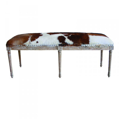 Valeria Tan & White Goat Bench Seat With Oak Legs