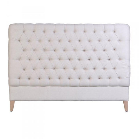 Therese Tufted Bedhead Headboard White Linen (Super King)