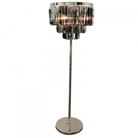 Noveaux Deco Nickel & Smokey Glass Floor Lamp Light - Home of Temptations Interior Design Furniture Decor & Gifts http://www.hotdesign.co.nz