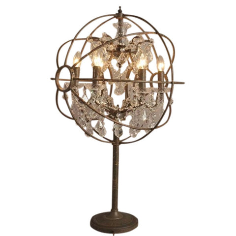 Rococo Globe Crystal Table Lamp Light