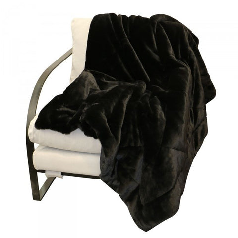 Bellissimo Faux Fur Luxury Lounge / Bed Throw (Black)