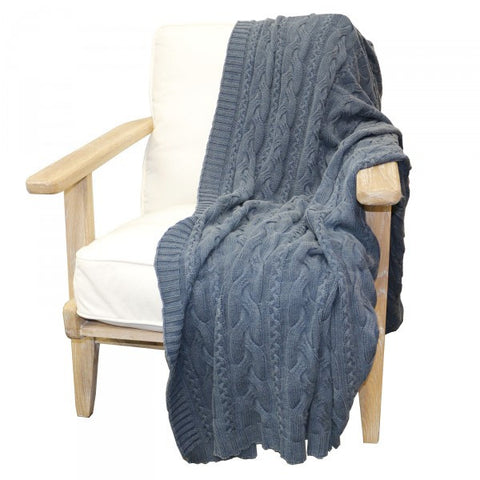 Blue Wash Cotton Cable Lounge / Bed Throw
