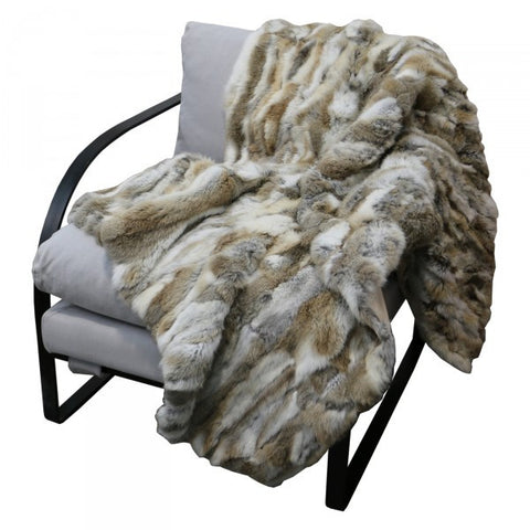 Luxury Rabbit Fur Lounge / Bed Throw