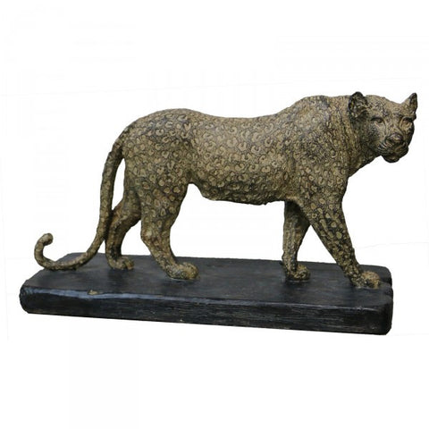 Leo Leopard On Plinth Ornate Decorative Table Ornament