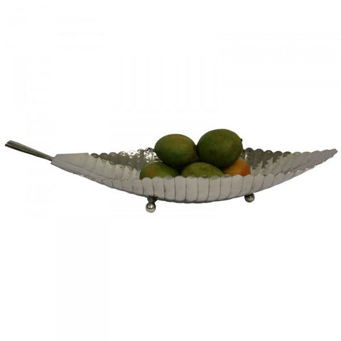 Luca Stainless Steel Footed Leaf Decorative Bowl