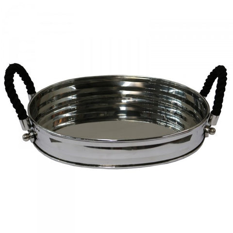 "Stainless Steel ""Luca"" Oval Decorative / Display Tray With Rope Handles"