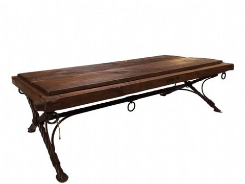 Reclaimed Rustic Wood Gate Table Top Coffee Table With Hand Forged Iron Footing