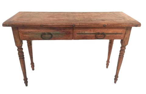Encinitas Rustic Chic Wood Console Table / Desk With Drawers & Iron Detail