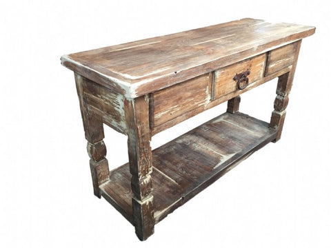 Calabasas Rustic White Washed Wood Console Table Made In Mexico