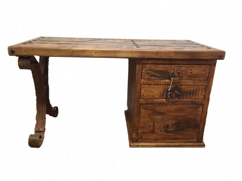 Alejandro Rustic Wood & Hand Forged Iron Desk Made In Mexico