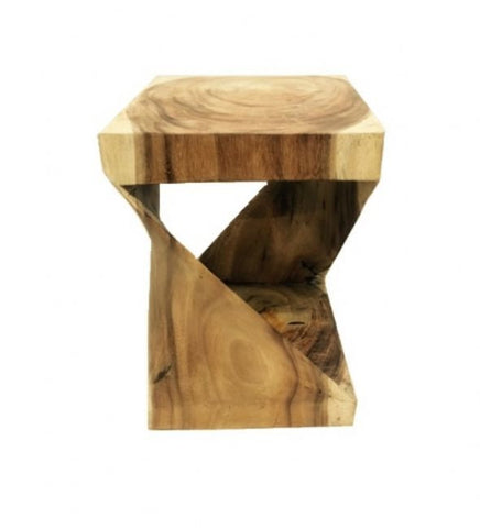 Twisted Abstract Teak Wood Block Side Table - Modern Rustic