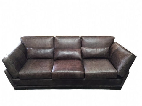 Full Hide Leather Raisin Colorado 3 Seater Couch - Very Chic & Comfortable