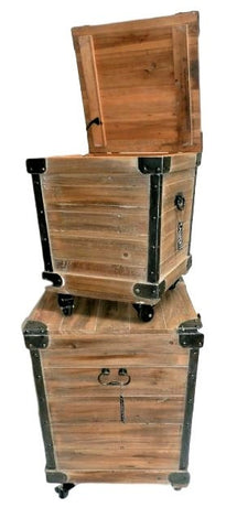 Everett Industrial Rustic Trunk Chests On Castor Wheels (Set Of 2)