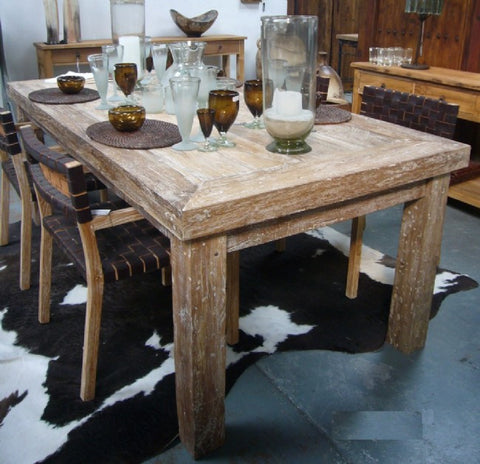 Old Natural Teak Rustic Wood Dining Table