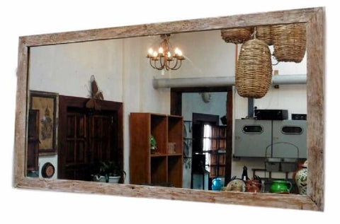 Light White Wash Authentic Aged Wood Mirror XXL - Rustic Character Piece