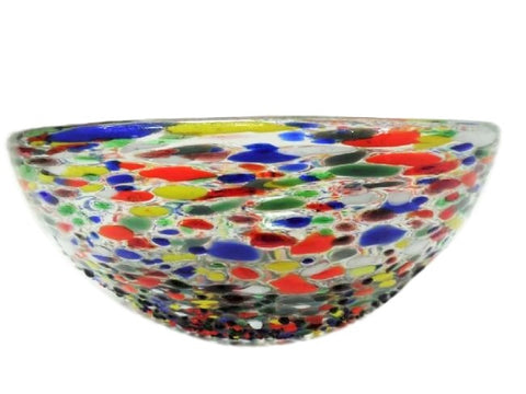 Millefiori Luxury Handblown Double Glass Salad Bowl / Serving Bowl For Entertaining