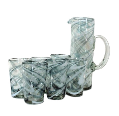 Grey/White Swirls Handblown Jug & Glasses Water Set - Solid Mexican Glass