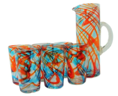 Turquoise/Tangerine Swirls Handblown Jug & Glasses Water Set - Solid Mexican Glass - Home of Temptations Interior Design Furniture Decor & Gifts http://www.hotdesign.co.nz