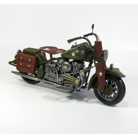 Army Motorbike Vintage Styled Model Replica Ornament