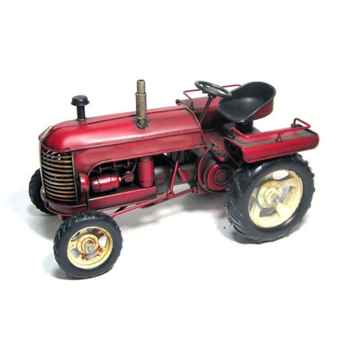 Farmer Red Rustic Farm Tractor Model Replica Ornament