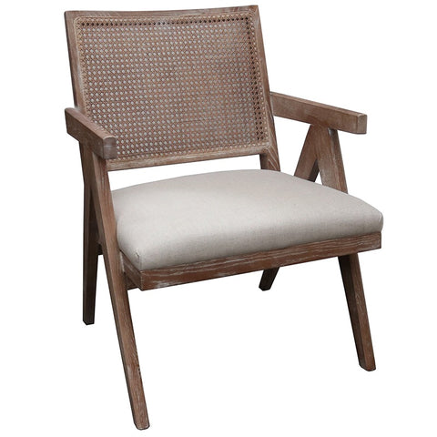 Balmain Luxury Oak & Linen Lounge Chair Armchair