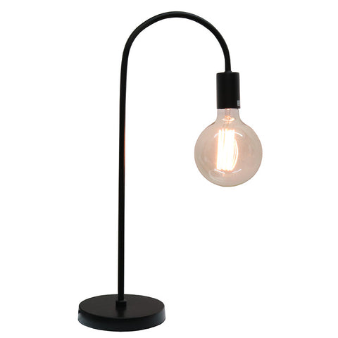 Curved Industrial Modern Minimalist Black Table Lamp Light