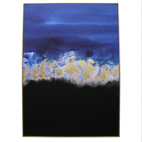 Abstract Landscape Canvas Wall Art Blue, Black & Gold