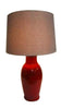 Mexican Ceramic Handmade Lamp Base With Linen Shade (Red)