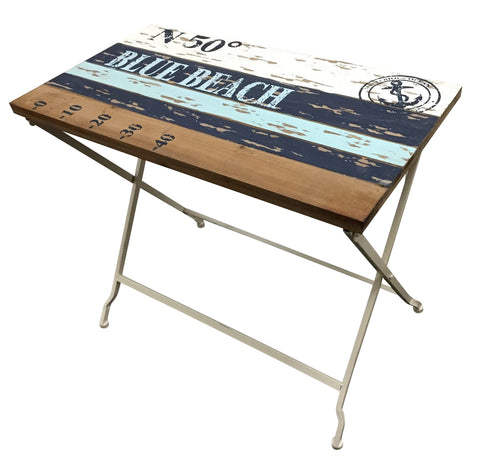 Villa Shabby Chic Beach Wood Slat Folding Table - Home of Temptations Interior Design Furniture Decor & Gifts http://www.hotdesign.co.nz