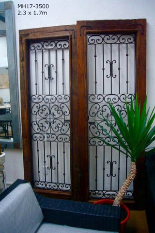 Gorgeous Serville Rustic Exterior Front Doors Mexican Wood & Hand Forged Iron