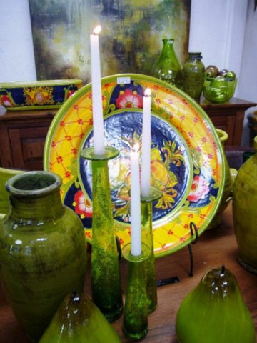 Green Handblown Mexican Glass Candleholders Candlesticks / Bud Vases