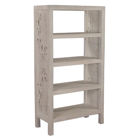 Flora Bookcase Shelving Unit Country Shabby Chic Carved Wood
