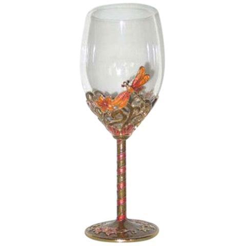 Exquisite Heirloom Dragonfly Wine Glasses With Diamantés (Set of Two)