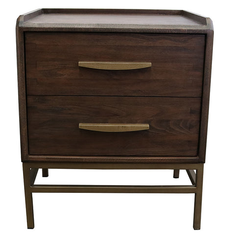 Carlton Bedside Table / Side Table Chic Dark Beech Wood & Iron