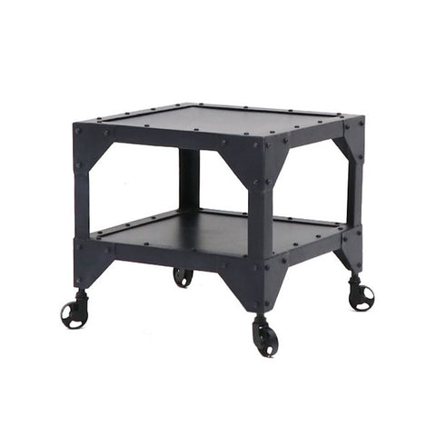 Bank Industrial Chic Iron Side Table Cart on Castor Wheels